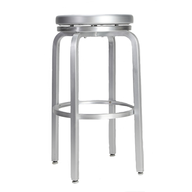 Paula Brushed Aluminum Swivel Bar Stool Restaurant