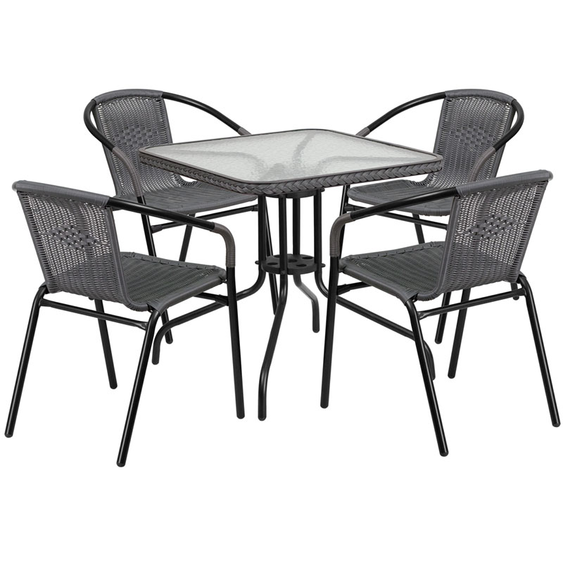 Restaurant Glass Metal Table 28 Quot Square With 4 Gray