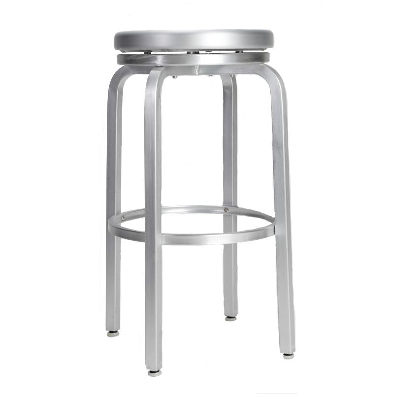 Brushed Aluminum Swivel Bar Stool Restaurant Furniture