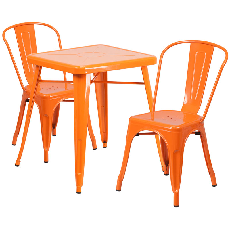 Nico Metal Indoor-Outdoor Table Set With 2 Stack Chairs ...