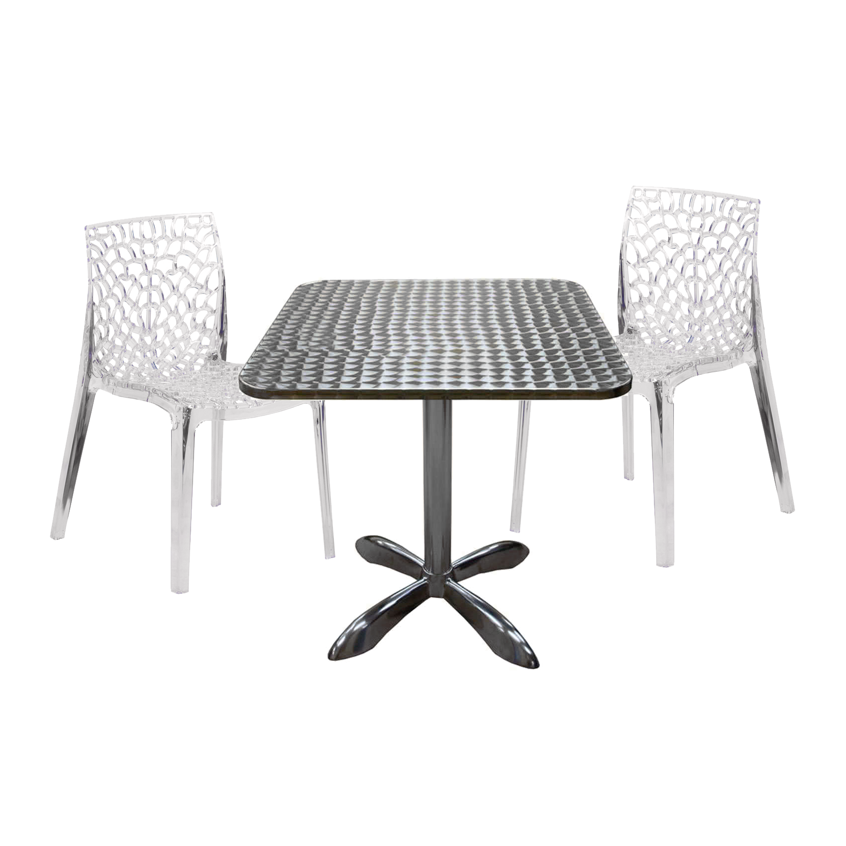 Aluminum Table with Artistic Crystal Stackable Chair Restaurant