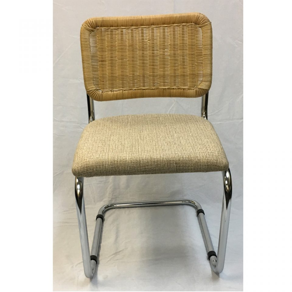 Incredible Breuer Metal Chair With Wicker Back And Hessian Fabric Seat Pdpeps Interior Chair Design Pdpepsorg