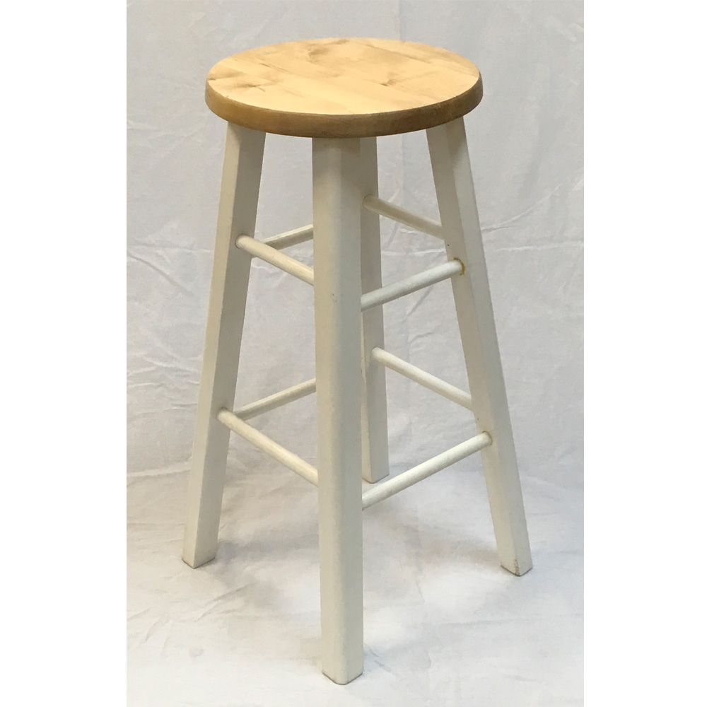 Backless Wood Stool Natural And White